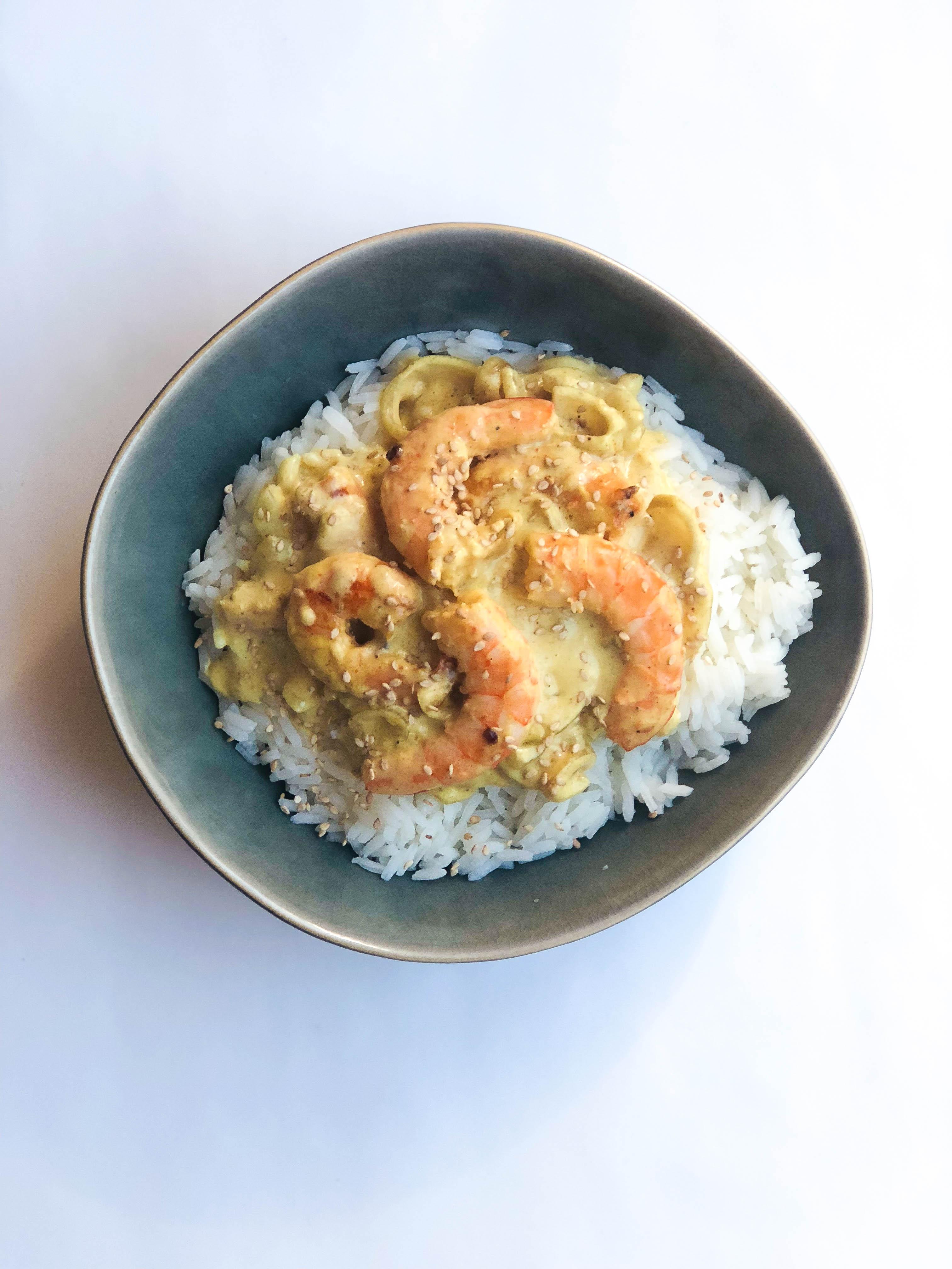 Recette crevette, lait de coco et curry