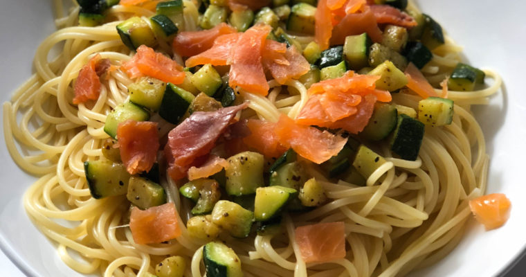 Spaghetti courgette saumon