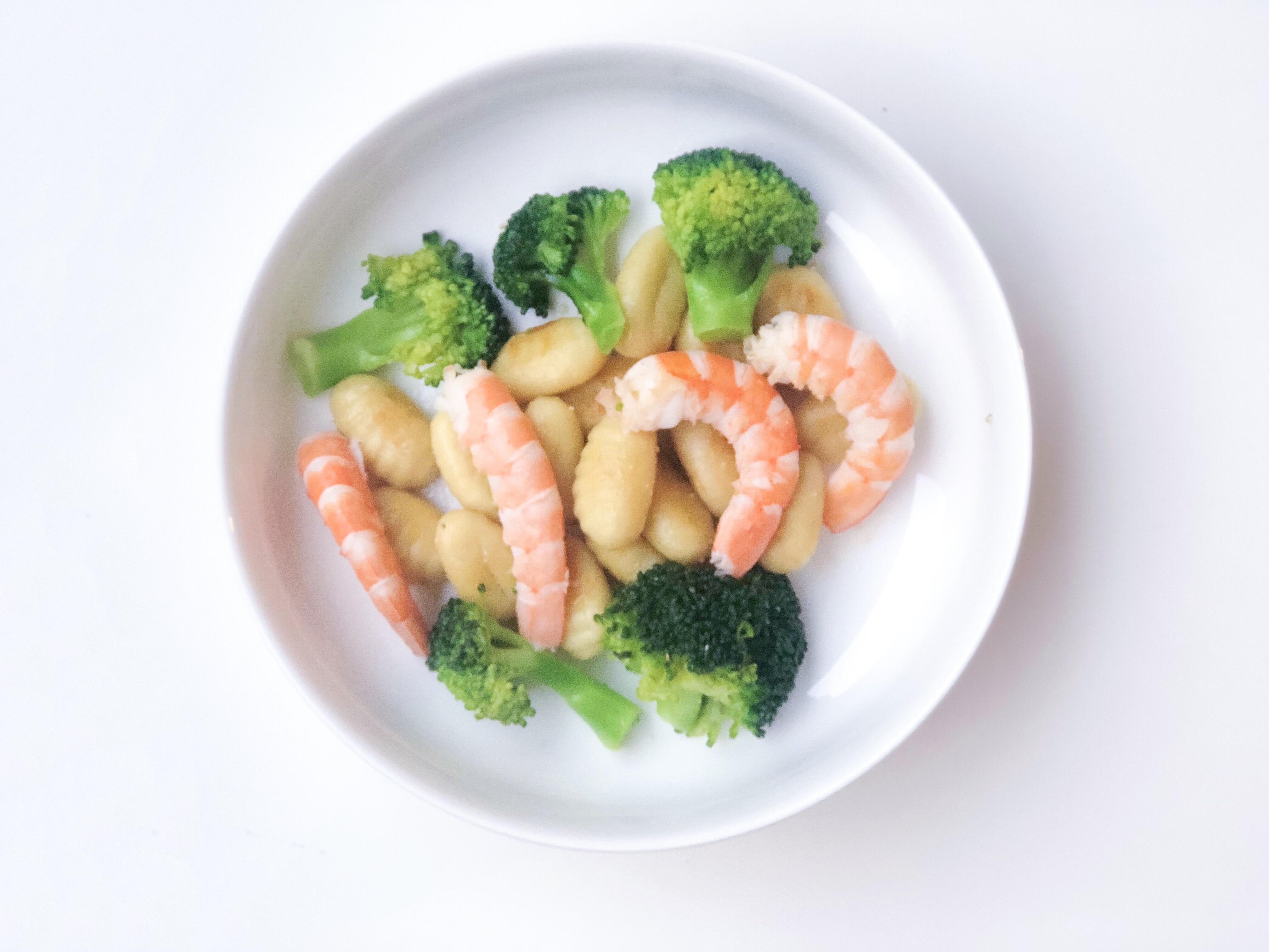 Gnocchis, brocolis et crevettes